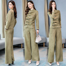 【寒冰紫雨】时尚修身2020春装修身两件套装女麂皮绒套装潮