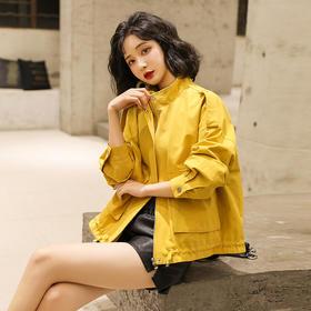 【寒冰紫雨】春秋装女士短款夹克衫女装小外套  新款宽松纯色夹克   AAA2088