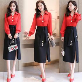 【寒冰紫雨】韩系少女穿搭套装   长袖2020女神的新衣推荐  薄款职业女装套裙  AAA7888