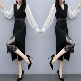 【寒冰紫雨】蕾丝拼接两件套装 长袖春装新款女装   AAA7877