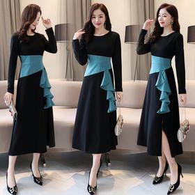 【寒冰紫雨】 简约时尚潮流舒适连衣裙年春季拼接中长款显瘦修身 黑色 L  AAA208