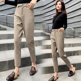 【寒冰紫雨】2019年冬季时尚潮流舒适休闲裤子纯色宽松优雅气质