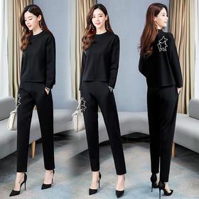 【寒冰紫雨】 2020新款2件套装女装 春季时尚气质百搭收腰纯色上衣+裤子    AAA7881