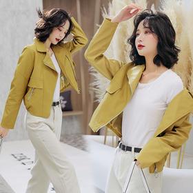 【寒冰紫雨】2020春季新款时尚潮流舒适长袖皮衣纯色休闲气质优雅皮衣