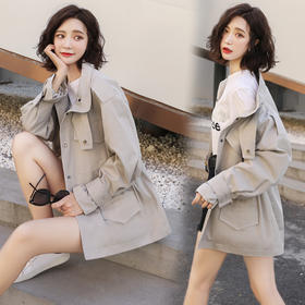 【寒冰紫雨】风衣单排扣长袖直筒2020年春季纯色气质百搭修身