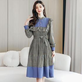 【寒冰紫雨】现早春新款韩版长袖连衣裙精美木耳边撞色修身格子裙