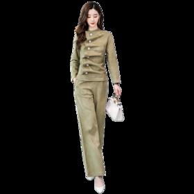 【寒冰紫雨】 新款2020春春时尚新款麂皮绒套装修身长袖两件套潮   AAA3303