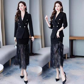 【寒冰紫雨】春款西装外套+半身裙子 2020年春季春装女套装两件套气质洋气   AAA7883