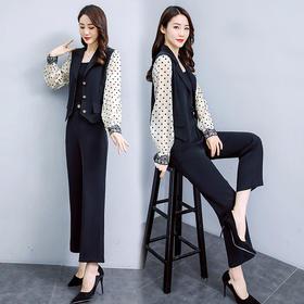 【寒冰紫雨】 气质宽松柔软舒适2件套裤子 西服拼接短款女士外套两件套装   AAA7894