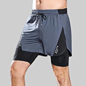 新款运动裤男式弹力速干假两件短裤健身篮球双层短裤