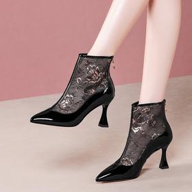 性感镂空,真皮低跟尖头网纱短靴OLD-Y6178