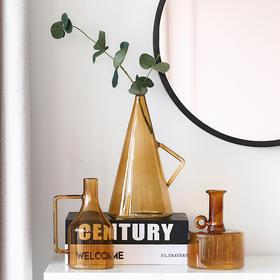 现代简约透明玻璃花瓶客厅餐厅卧室水培插花小摆件小花瓶几何花器