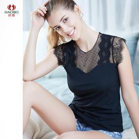 好波新品女士春夏细螺纹蕾丝拼接莫代尔棉性感小飞袖打底衫HBX2015