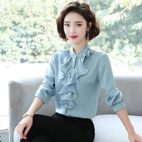 韩版时尚,荷叶边打底雪纺长袖衬衫TR2032