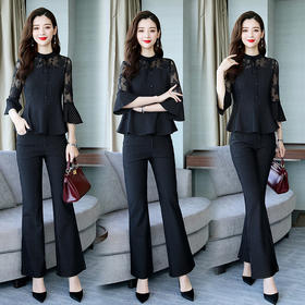时尚条纹,蕾丝拼接上衣+裤子气质套装HR-WJL86