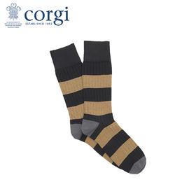 【Dr.who同款】CORGI柯基英国进口男士袜日系暖色调精梳棉薄款条纹间隔中长筒袜