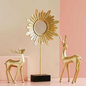 欧洲客厅背景墙面装饰镜铁艺餐厅壁挂镜玄关浴室圆形太阳镜子