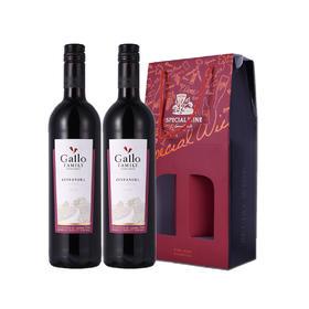 美国进口嘉露家族庄园仙粉黛红葡萄酒双支纸卡盒750ml*2