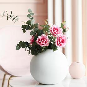 仿真玫瑰花客厅装饰情人节花束餐桌客厅单支假花摆件塑料插花摆设