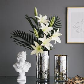 简约轻奢玻璃花瓶金色纹理插花器北欧客厅餐桌家居装饰品摆件