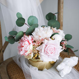 北欧金色玻璃小花瓶轻奢家居电视柜客厅餐桌插花干花软装饰品摆件