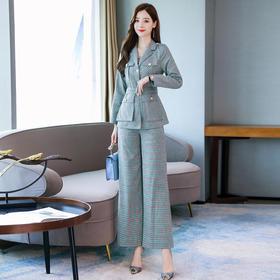 【寒冰紫雨】御姐套装轻熟风气质 格子西装两件套装女西装外套+格纹长裤子 春秋装2020新款   9962