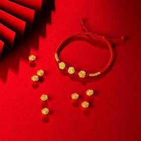 千年 999足金黄金三朵玫瑰花红色手编绳