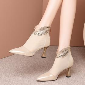 OLD-L9226新款羊皮镂空网纱罗马高跟凉靴TZF