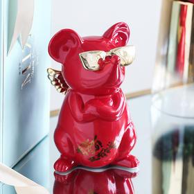 创意酒柜电视柜办公桌送女生鼠年情人节礼物摆件家居饰品存钱罐
