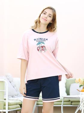 好波新品夏季女士全棉短袖短裤套装HJZ2038小飞袖睡裙HJZ2039