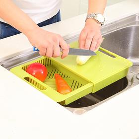 【多功能切菜板 切菜+储存+沥水】可滑动厨房二合一切菜板 钻板置物架沥水篮切菜板