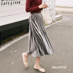 【一穿显瘦,宽胯腿粗克星】HELLOFREE 流光裙百褶裙 均码 金丝绒面料 四季皆宜透气舒适