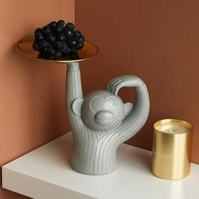 现代简约创意收纳摆件猴子托盘家居装饰客厅电视柜办公桌饰品摆设