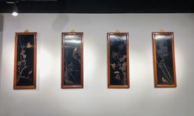 红桥红 家具严选  缅甸花梨(大果紫檀)  【梅兰竹菊影雕挂屏】