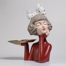 蝴蝶结女孩水果盘装饰摆件轻奢风家居饰品客厅茶几创意零食盘摆设