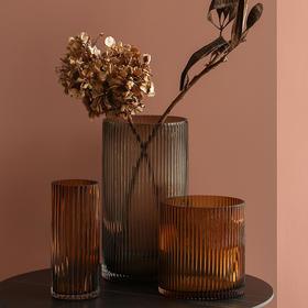 北欧玻璃条纹花瓶创意现代卧室客厅插花花器摆件室内干花家居装饰
