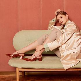 【为舒适而生】WAYNE FLEX 韦恩2020新款 凉鞋 女仙女风 鳄鱼纹玛丽珍 粗跟 法式包头 4104