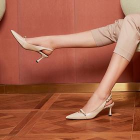 【为舒适而生】WAYNE FLEX 韦恩2020新款 半包露跟 时尚街拍同款 中跟 女4103