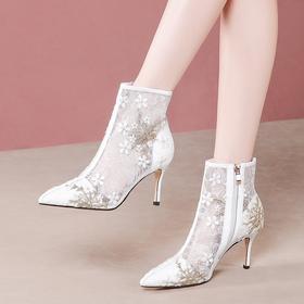 真皮复古刺绣花,高帮网纱凉靴OLD-Y6175