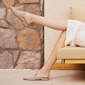 【为舒适而生】WAYNE FLEX 韦恩2020新款 包头半拖鞋 女 平底羊皮 绗缝穆勒拖5046