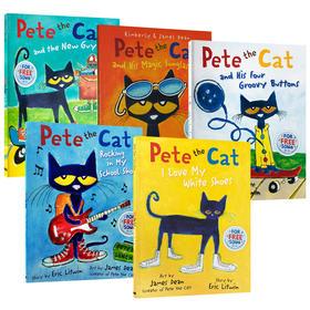 皮特猫系列绘本5册 英文原版 Pete the Cat I Love My White Shoes 吴敏兰书单 3-5岁儿童启蒙英语学习图画故事书 英文版 进口原版