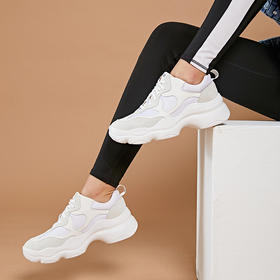 【为舒适而生】WAYNE FLEX 韦恩2020新款 鹿皮老爹鞋 女ins潮 内增高 休闲运动 3018