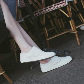 【为舒适而生】WAYNE FLEX 韦恩2020新款平底小牛皮小白鞋 女 时尚简约魔术贴单鞋3017