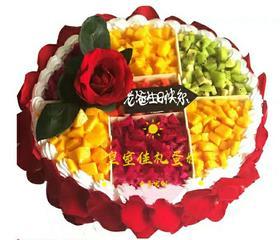 玫瑰创意水果蛋糕