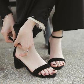 【为舒适而生】WAYNE FLEX 韦恩2020新款粗跟凉鞋 进口羊皮 时尚简约 气质优雅4107