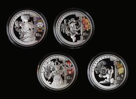 2008年北京奥运会第三组1盎司银币4枚(2种包装随机发货)