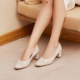 【现货!澳洲进口羊皮 进口色织布 舒适】PIEDMO复古花呢高跟鞋/平底鞋