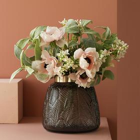 北欧创意花瓶摆件简约雾白银莲整体花艺仿真花干花装饰摆件