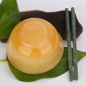天然米黄玉玉碗玉筷子