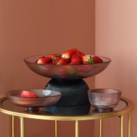 轻奢创意玻璃水果盘北欧客厅摆件家用个性茶几收纳摆件零食盘